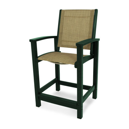 Coastal Counter Chair in Green / Burlap Sling