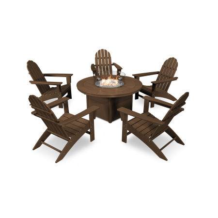 Vineyard Adirondack 6-Piece Chat Set with Fire Pit Table in Teak