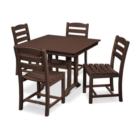 La Casa Café 5-Piece Farmhouse Trestle Side Chair Dining Set in Mahogany