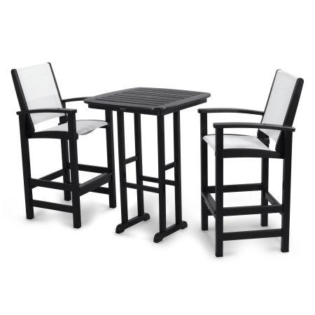Coastal 3-Piece Bar Set in Black / White Sling