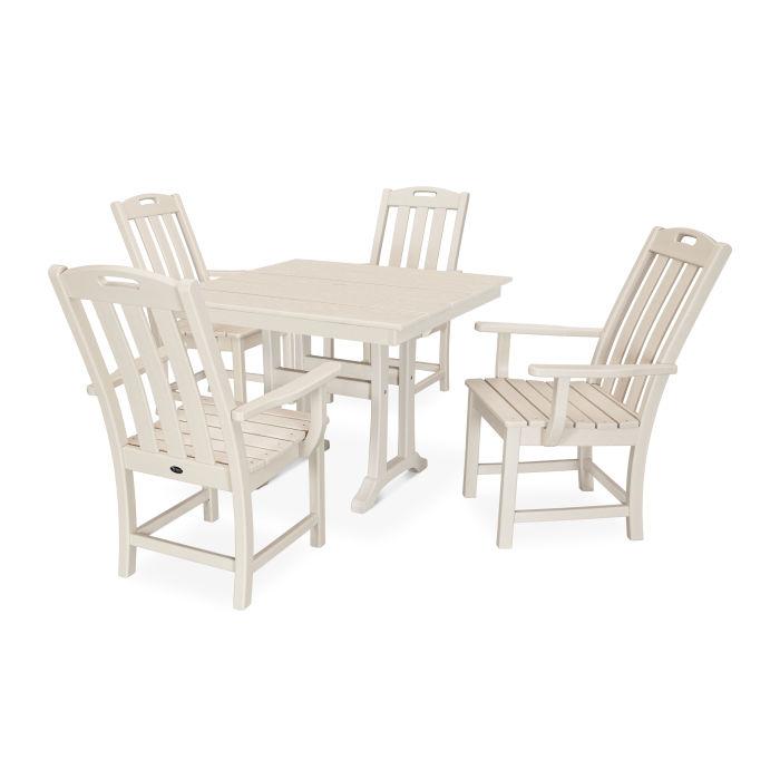 Yacht Club 5-Piece Farmhouse Trestle Arm Chair Dining Set