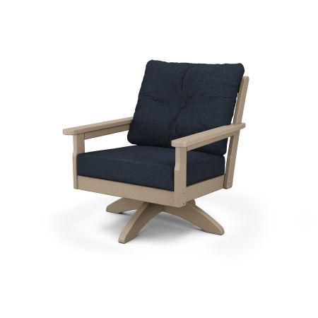 Vineyard Deep Seating Swivel Chair in Vintage Sahara / Marine Indigo