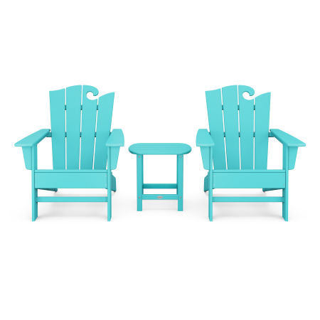 Wave 3-Piece Adirondack Set with The Ocean Chair in Aruba