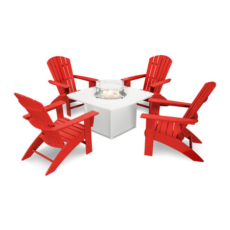 Nautical Curveback Adirondack 5-Piece Conversation Set with Fire Table in Sunset Red