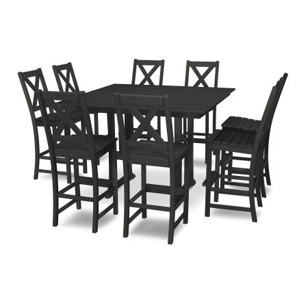 Braxton 9-Piece Farmhouse Bar Set in Black