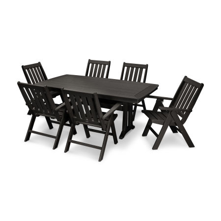 Vineyard 7-Piece Nautical Trestle Folding Dining Set in Black