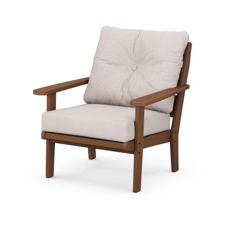 Lakeside Deep Seating Chair in Teak / Dune Burlap
