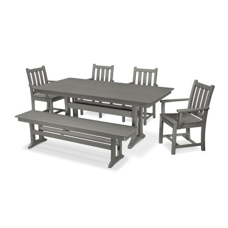 Traditional Garden 6-Piece Farmhouse Dining Set with Bench