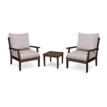 Braxton 3-Piece Deep Seating Set in Mahogany / Cast Ash