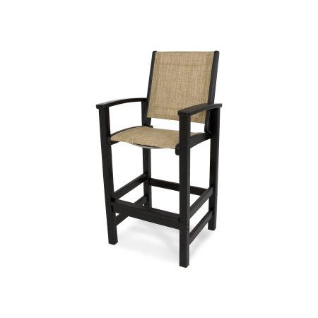 Coastal Bar Chair in Black / Burlap Sling