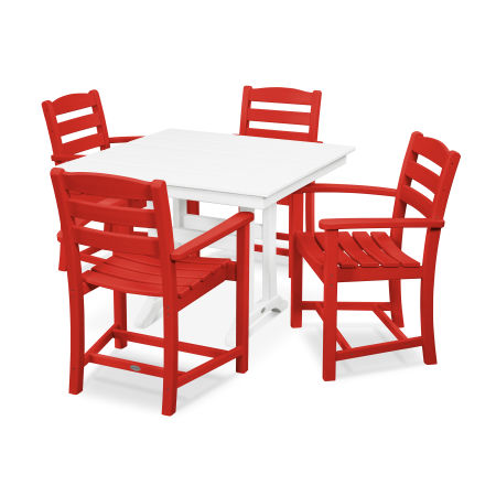 La Casa Café 5-Piece Farmhouse Arm Chair Dining Set in Sunset Red / White