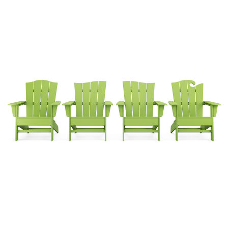 Wave Collection 4-Piece Adirondack Chair Set in Lime