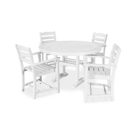 La Casa Café 5 Piece Arm Chair Dining Set in White