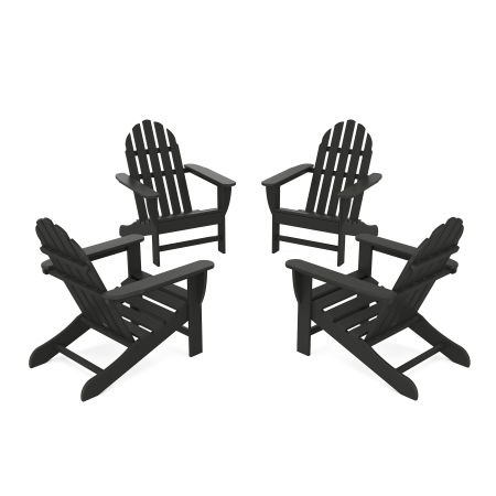 4-Piece Classic Adirondack Conversation Set in Black