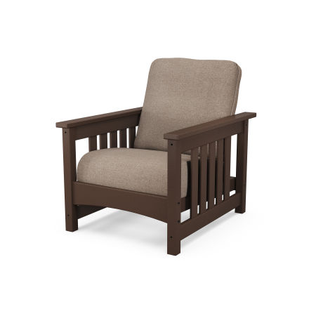 Mission Chair in Mahogany / Spiced Burlap