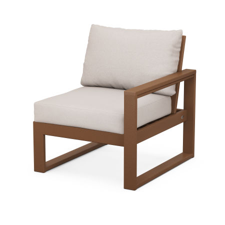 EDGE Modular Right Arm Chair in Teak / Dune Burlap