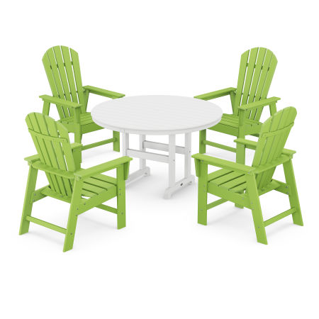 South Beach 5-Piece Dining Set in Lime / White