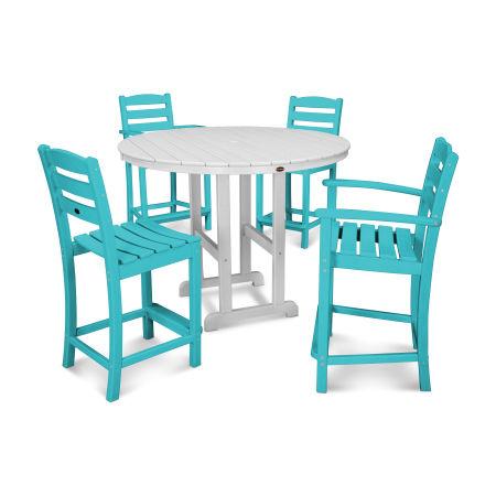 La Casa Café 5-Piece Counter Dining Set in Aruba