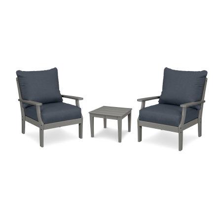 Braxton 3-Piece Deep Seating Set in Slate Grey / Sancy Denim