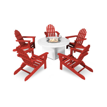 Classic Folding Adirondack 6-Piece Conversation Set with Fire Pit Table in Sunset Red