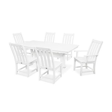 Vineyard 7-Piece Farmhouse Dining Set in White
