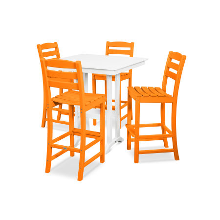 La Casa Café 5-Piece Farmhouse Bar Set in Tangerine / White