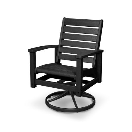 Signature Swivel Rocking Chair in Textured Black / Black