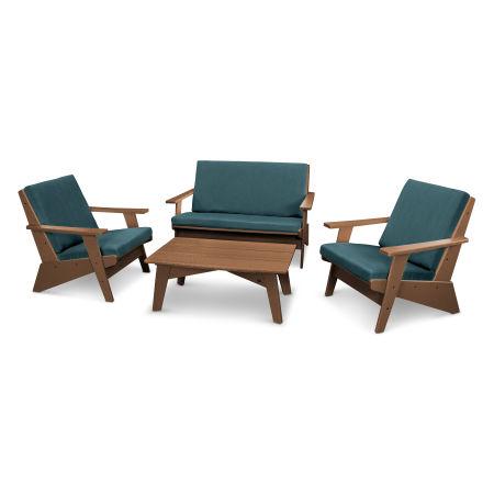 Riviera Modern Lounge 4-Piece Set in Teak / Blend Lagoon