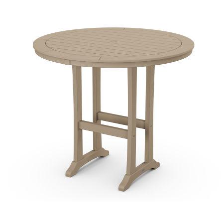 "Nautical Trestle 48"" Round Bar Table in Vintage Sahara"