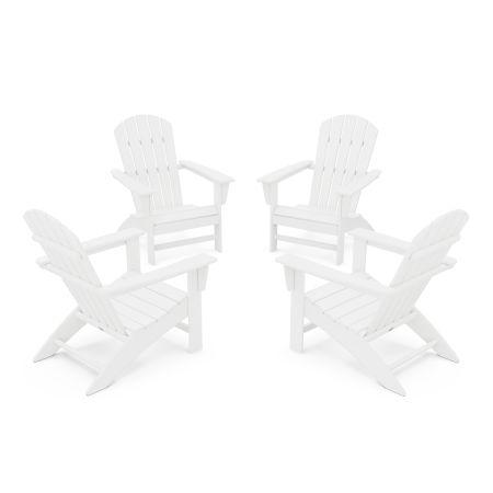 Nautical 4-Piece Adirondack Conversation Set in White