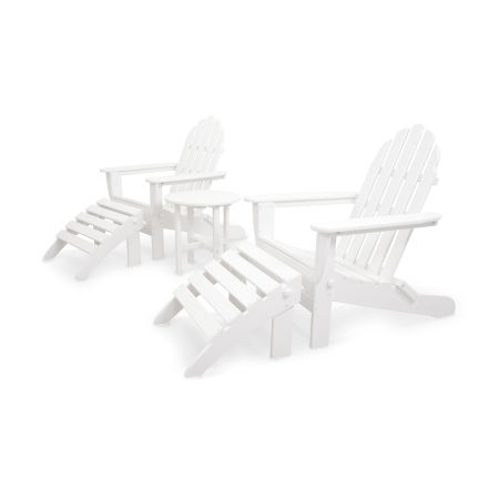 Classics 5-Piece Folding Adirondack and Ottoman Set in White