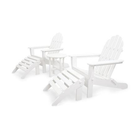 Classics 5-Piece Folding Adirondack and Ottoman Set in White