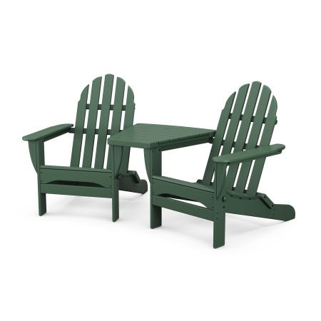 Classic Folding Adirondacks with Connecting Table in Black