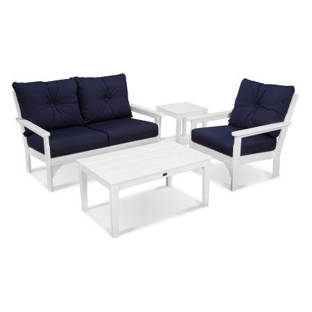 Vineyard 4 Piece Deep Seating Set in White / Navy
