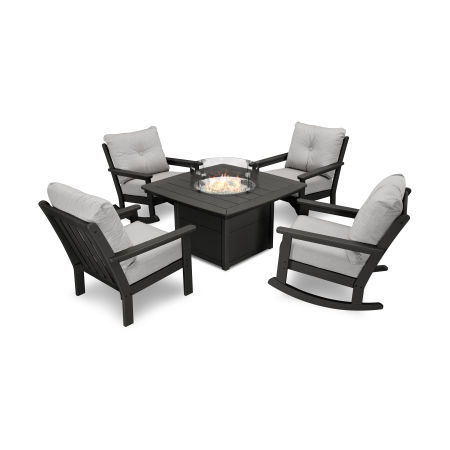 Vineyard 5-Piece Deep Seating Rocking Chair Conversation Set with Fire Pit Table in Black / Canvas Granite