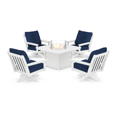 Vineyard 5-Piece Deep Seating Swivel Conversation Set with Fire Pit Table in White / Navy