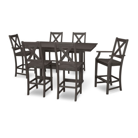 Braxton 7-Piece Farmhouse Trestle Bar Set in Vintage Finish