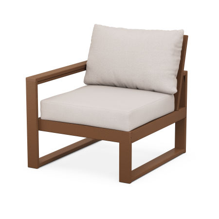 EDGE Modular Left Arm Chair in Teak / Dune Burlap