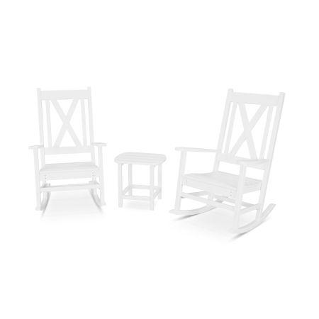 Braxton 3-Piece Porch Rocking Chair Set in White