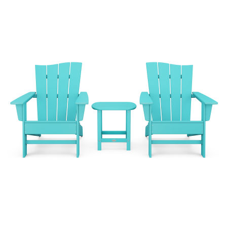 Wave 3-Piece Adirondack Chair Set in Aruba