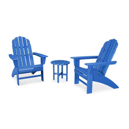 Vineyard 3-Piece Curveback Adirondack Set in Vintage Pacific Blue