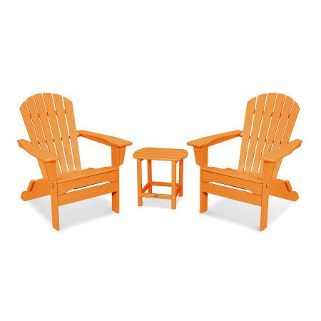 South Beach 3-Piece Folding Adirondack Set in Tangerine