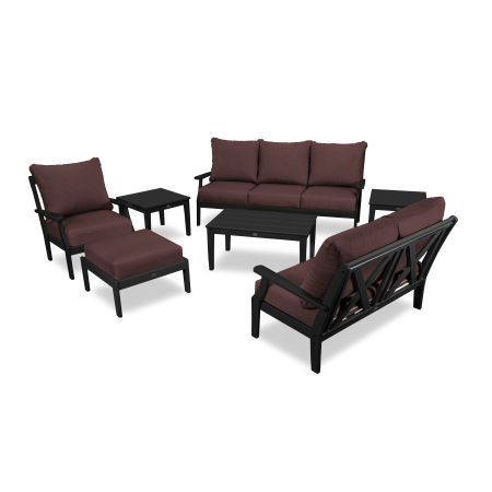 Braxton 7-Piece Deep Seating Set in Black / Cast Currant