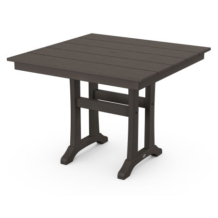 "Farmhouse Trestle 37"" Dining Table in Vintage Finish"