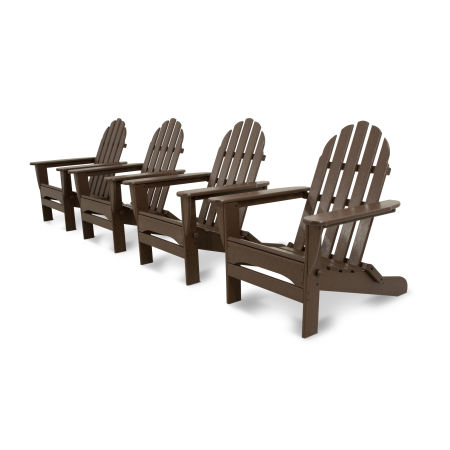 Classics 4-Piece Folding Adirondack Conversation Set in Mahogany