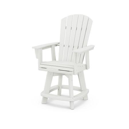 Nautical Adirondack Swivel Counter Chair in Vintage White