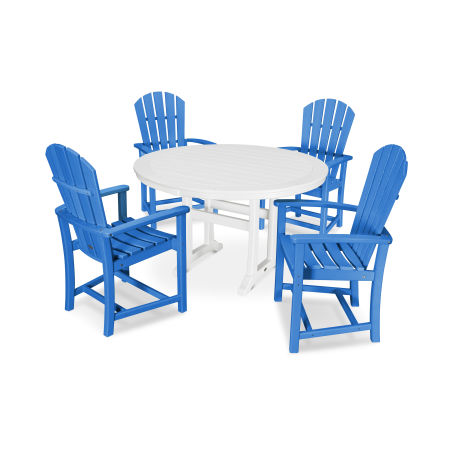 5 Piece Palm Coast Dining Set in Pacific Blue / White