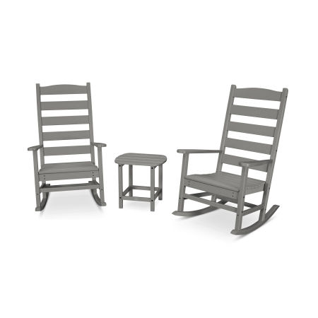 Shaker 3-Piece Porch Rocking Chair Set in Slate Grey