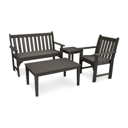 Vineyard 4-Piece Bench Seating Set in Vintage Finish