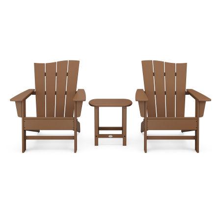 Wave 3-Piece Adirondack Chair Set in Teak